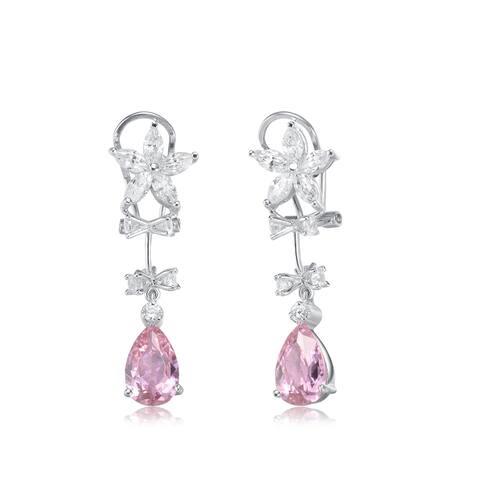 Collette Z Sterling Silver Pink Cubic Zirconia Teardrop Dangle Earrings