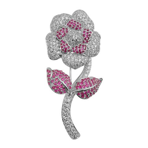 Collette Z Sterling Silver Cubic Zirconia Flower with Stem Pin - Red