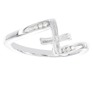 H Star Sterling Silver Diamond Accent Cross Ring (H-I, I2-I3)