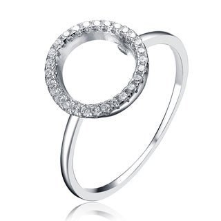 Collette Z Sterling Silver Cubic Zirconia Halo Ring