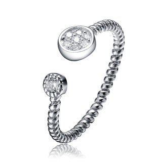 Collette Z Sterling Silver Pave Cubic Zirconia Circles Ring