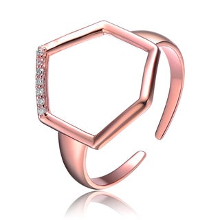 Collette Z Rose Gold Overlay Cubic Zirconia Hexagon Ring