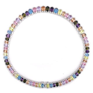 Collette Z Sterling Silver Rainbow Cubic Zirconia Necklace