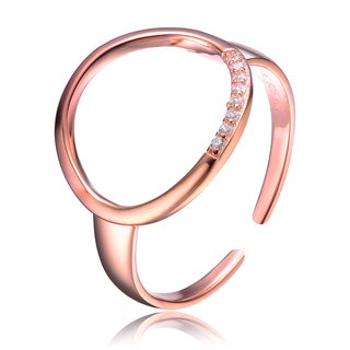 Collette Z Rose Gold Overlay Cubic Zirconia Accent Halo Ring