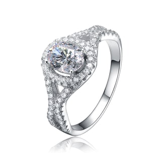 Collette Z Sterling Silver Mounted Cubic Zirconia Solitaire with Halo Ring