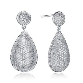 Collette Z Sterling Silver Cubic Zirconia Elongated Tear Drop Earrings