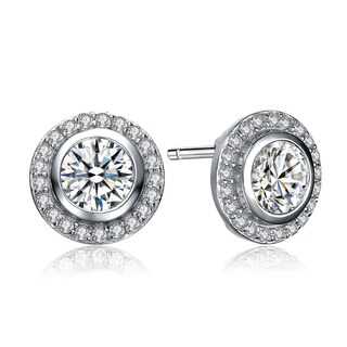 Collette Z Sterling Silver Cubic Zirconia Solitaire with Halo Earrings