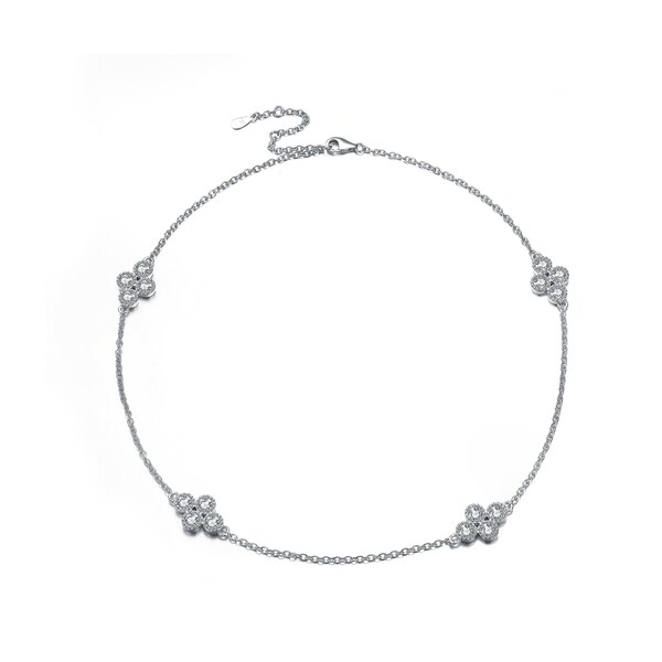 Collette Z Sterling Silver Cubic Zirconia Four Cluster Accent Necklace - White. Opens flyout.