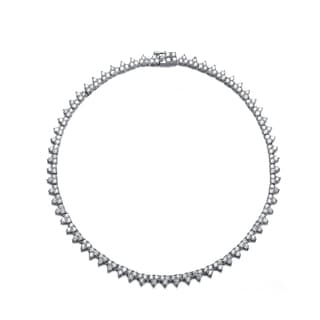 Collette Z Sterling Silver Pave Cubic Zirconia Wreath Necklace