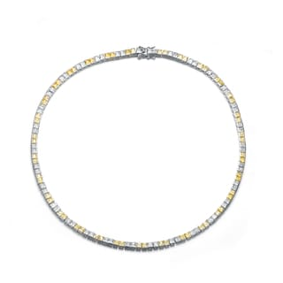 Collette Z Sterling Silver Alternating Yellow and Clear Cubic Zirconia Necklace