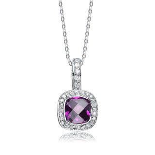 Sterling Silver Purple Cubic Zirconia Solitaire Necklace