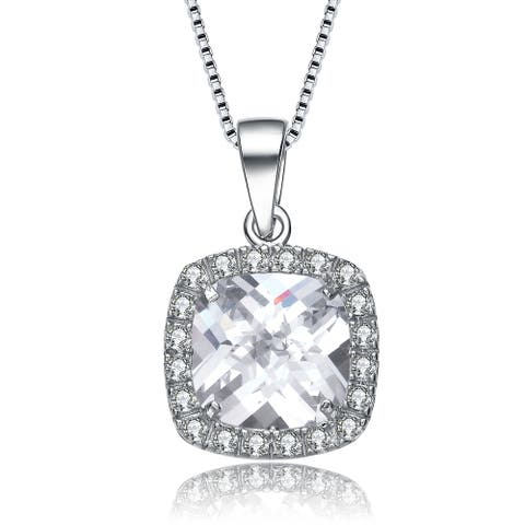 Collette Z Sterling Silver Large Cubic Zirconia Solitaire with Halo Necklace - White