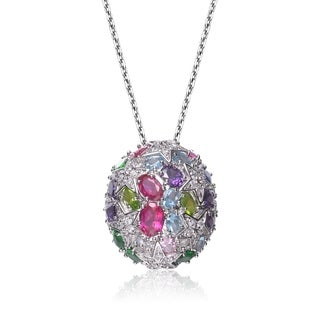 Collette Z Sterling Silver Multicolor Cubic Zirconia Flower Sphere Necklace