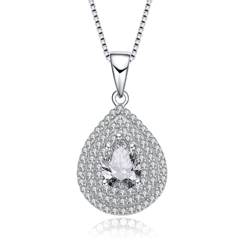 Collette Z Sterling Silver Pear Cubic Zirconia Solitaire with Triple Halo Necklace - White