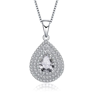 Collette Z Sterling Silver Pear Cubic Zirconia Solitaire with Triple Halo Necklace