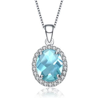 Collette Z Sterling Silver Oval Ice Blue Cubic Zirconia Solitaire with Halo Necklace