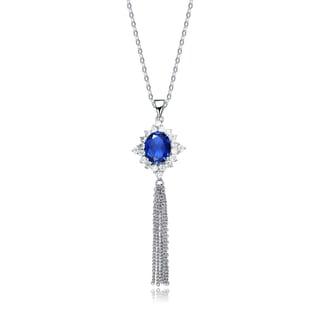 Collette Z Sterling Silver Deep Blue Cubic Zirconia Tassel Earrings