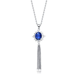 Collette Z Sterling Silver Deep Blue Cubic Zirconia Tassel Earrings - White