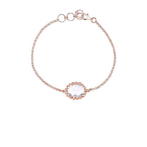 Collette Z Rose Rose Overlay Gemstone Bracelet - Pink