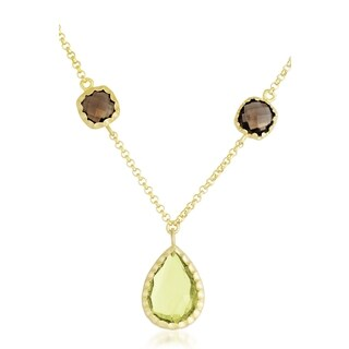 Collette Z Gold Overlay Brown and Yellow Cubic Zirconia Pendant Necklace