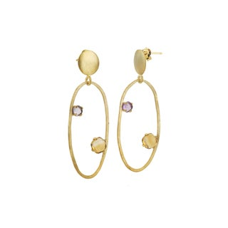 Collette Z Gold Overlay Cubic Zirconia Accent Open Circle Earrings