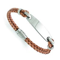 Versil Stainless Steel Polished ID and Tan Leather Woven Bracelet