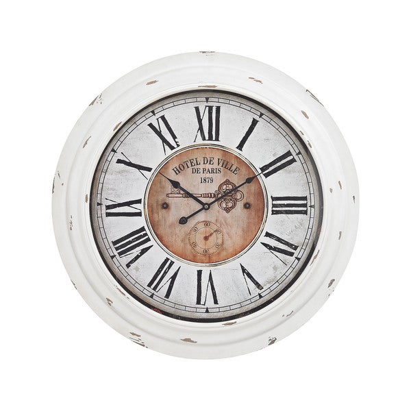 Sterling Home Theodore Wall Clock In Antique White