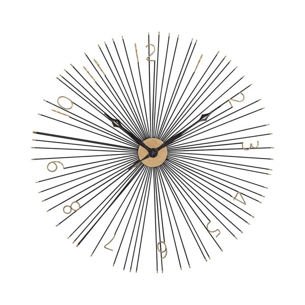 Sterling Home Shock front Black and Gold 36-Inch Metal Wall Clock