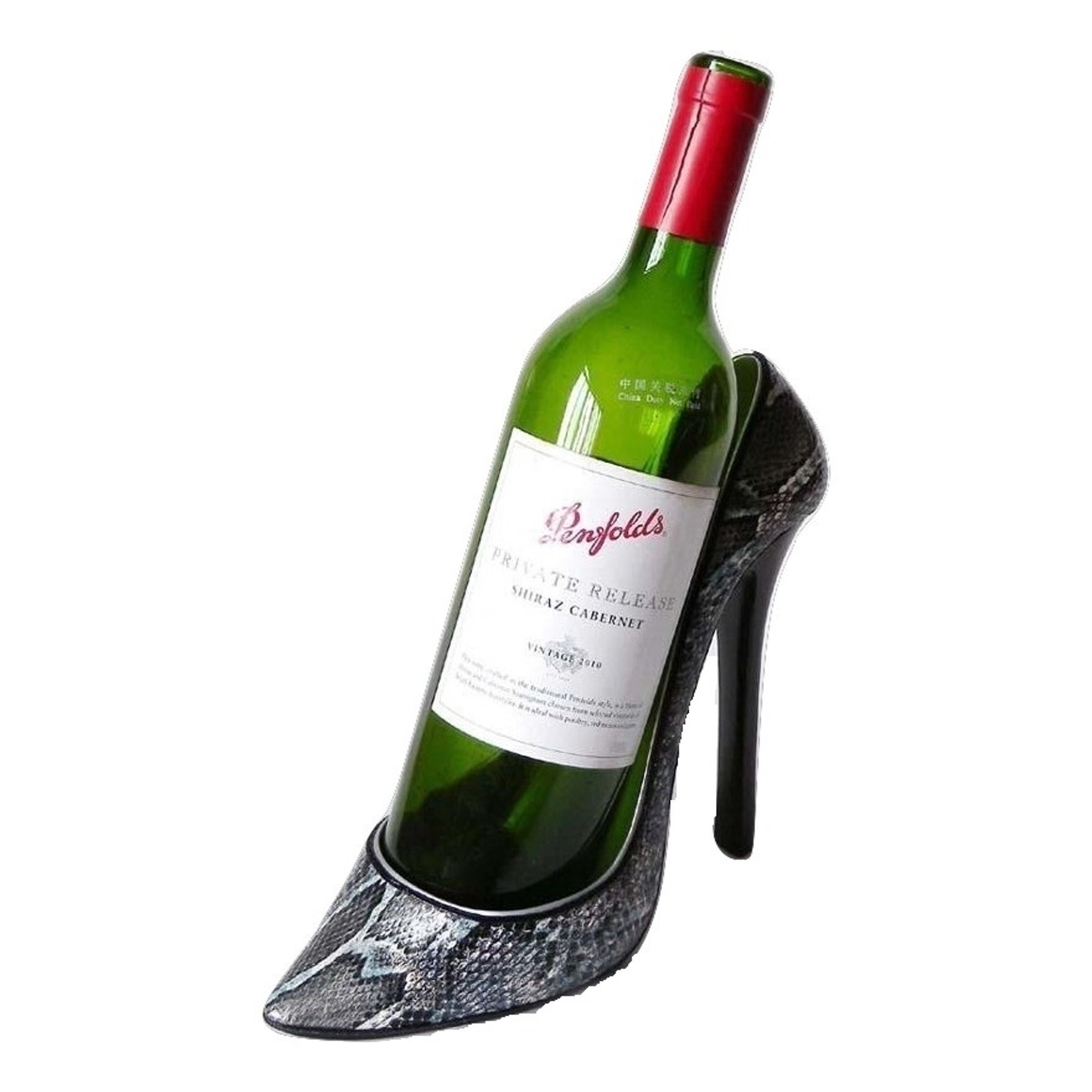 Elegance Snakeskin Stiletto Shoe Bottle Holder (Black/Whi...