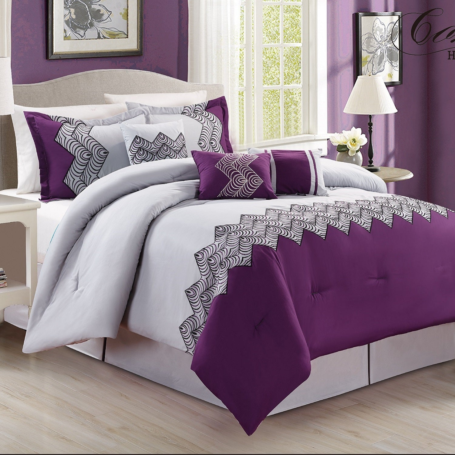 Fashion Street Emparial 7-piece Embroidered Comforter Set...