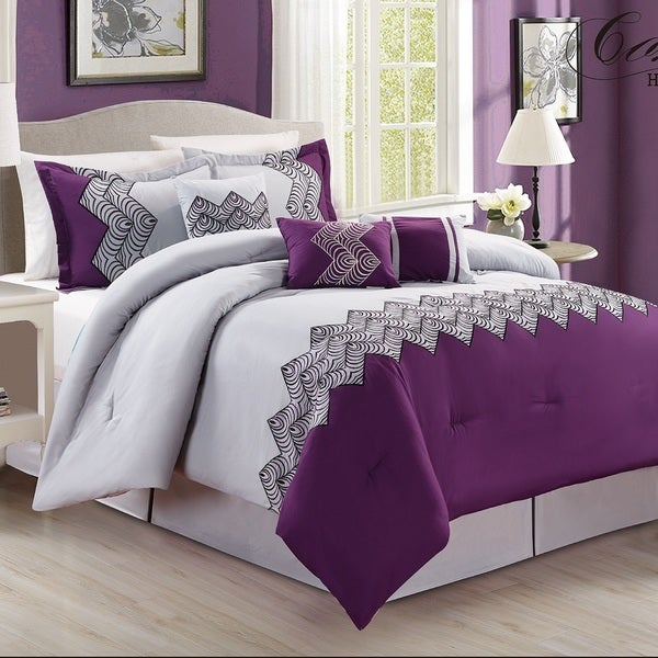 Fashion Street Emparial 7-piece Embroidered Comforter Set
