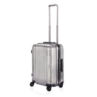 Lojel Kozmos Frame 22-inch Small Carry-on Metal Silver Hardside Upright Spinner Suitcase