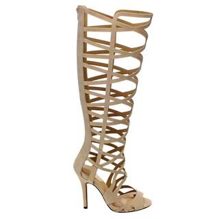 Beston Cd45 Women's Stiletto Heel Peep Toe Cut Out Caged Knee High Sandals