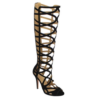 Beston Cd45 Women's Stiletto Heel Peep Toe Cut Out Caged Knee High Sandals