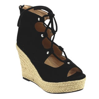 Beston Cd56 Women's Peep Toe Espadrilles Lace Up Wedge Sandals
