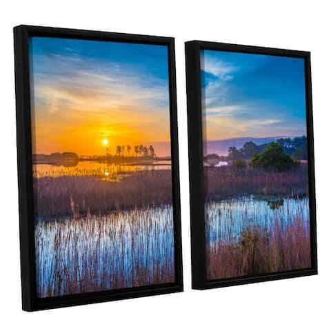 ArtWall Steve Ainsworth's 'Salt Marsh Sunrise' 2-piece Floater Framed Canvas Set - Multi