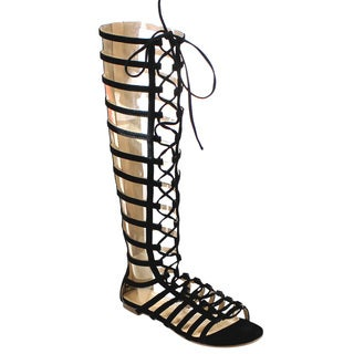 Beston Cd63 Gladiator Knee High Flat Sandals
