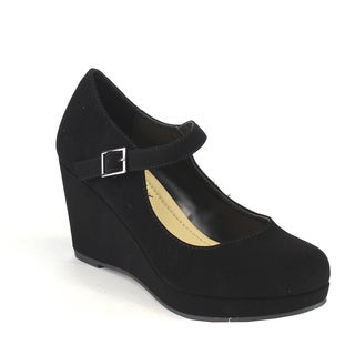 Beston IA15 Women's Platform Mary Jane Buckled Strap Wedge