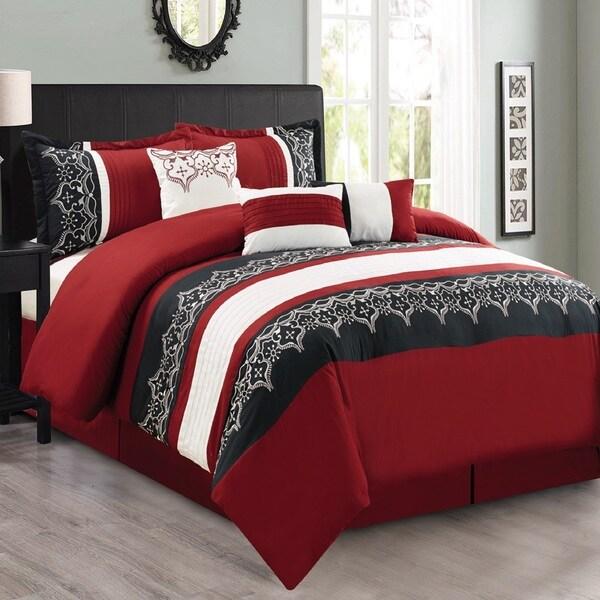 Fashion Street Persia 7-piece Embroidered Comforter Set