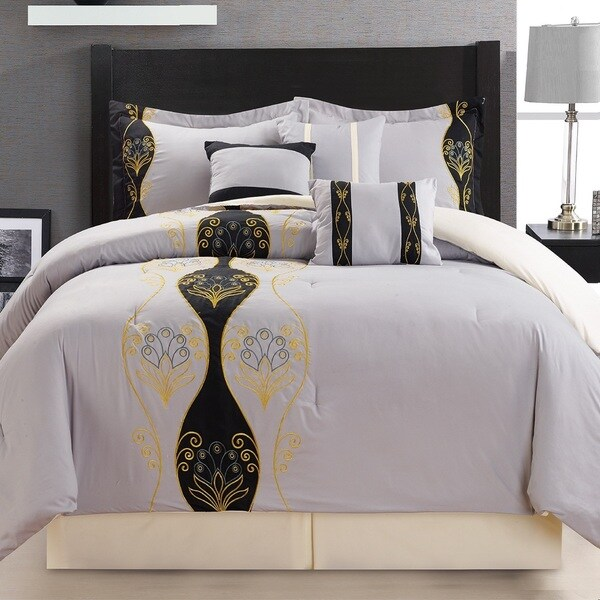 Fashion Street Tempus 7-piece Embroidered Comforter Set