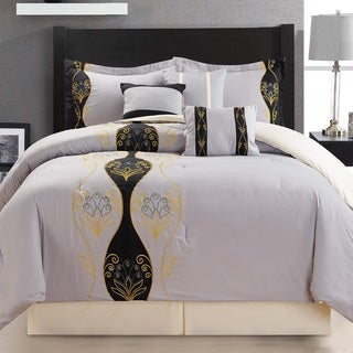 Fashion Street Tempus 7-piece Embroidered Comforter Set