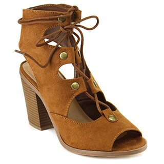 Soda IA33 Women's Strappy Lace-up Cutout Back Studs Stacked Chunck Heel Sandal