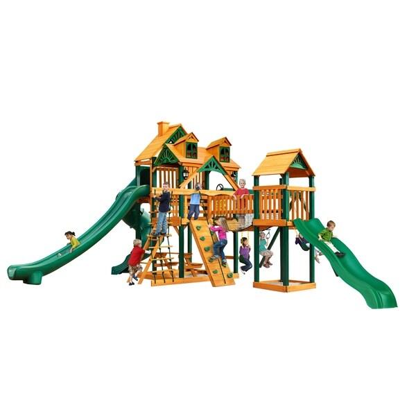 Gorilla Playsets Malibu Treasure Trove II Cedar Swing Set with Timber Shield Posts - Brown
