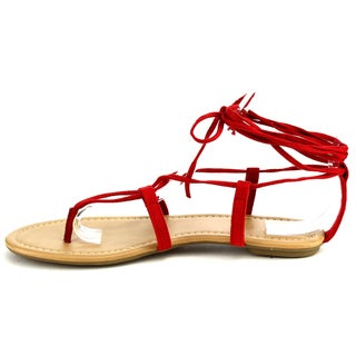Beston IA26 Women's Strappy Lace-up Ankle Tie Thong Sandal