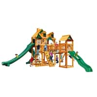 Gorilla Playsets Treasure Trove II Cedar Swing Set with Malibu Wood Roof and  Natural Cedar Posts