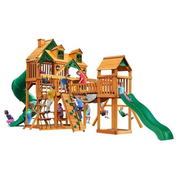 Gorilla Playsets Treasure Trove I Cedar Swing Set with Malibu Wood Roof and Natural Cedar Posts - Brown