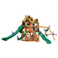 Gorilla Playsets Great Skye II Cedar Swing Set with Malibu Wood Roof and Natural Cedar Posts