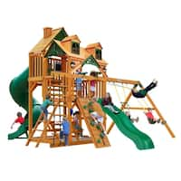 Gorilla Playsets Great Skye I Cedar Swing Set with Malibu Wood Roof and Natural Cedar Posts - Brown