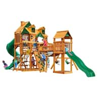 Gorilla Playsets Treasure Trove I Cedar Swing Set with Malibu Wood Roof and Timber Shield Posts - Brown