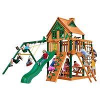 Gorilla Playsets Navigator Treehouse Cedar Swing Set with Timber Shield Posts - Brown